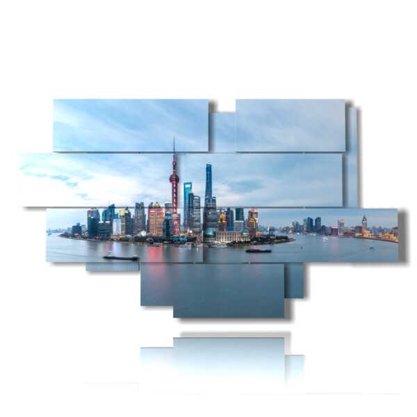 Photo Shanghai skyline painting