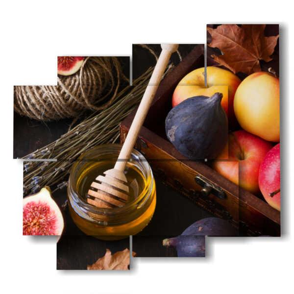 tableaux de fruits et de miel