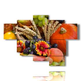 quadro cesto di frutta e fiori