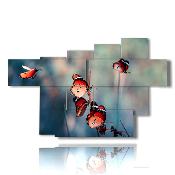 paintings with red butterflies