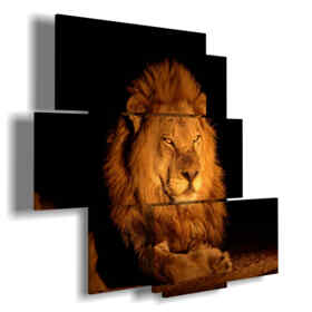 león cuadro de fuego