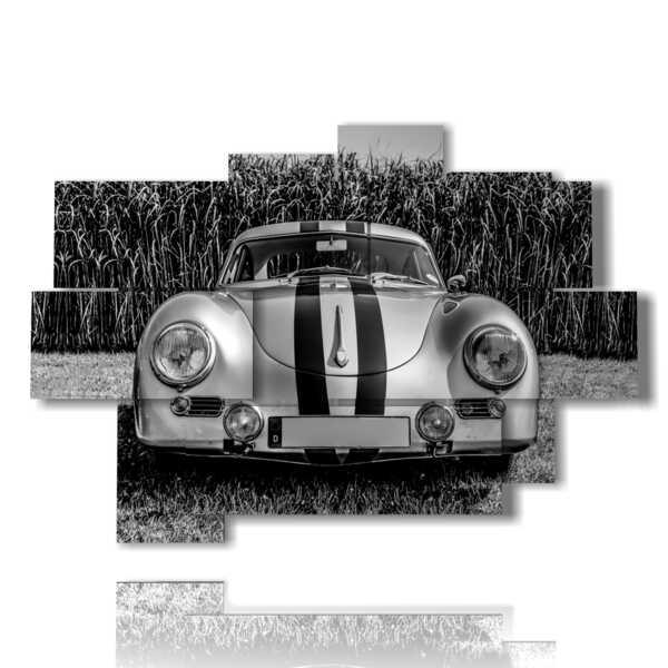 quadro auto vintage bianca e nera