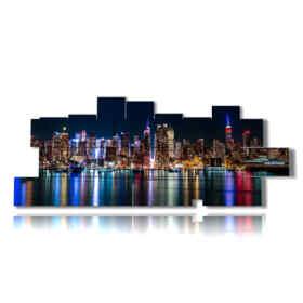 quadri moderni skyline new york di notte