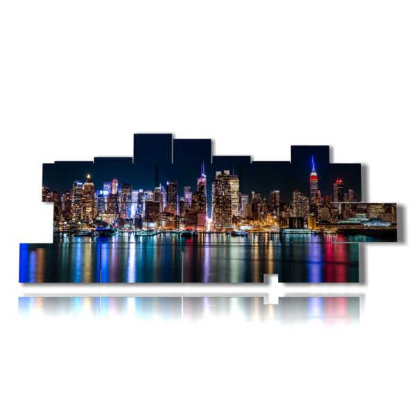 quadri skyline new york di notte